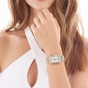 EUC MICHELE Deco 16 Diamond Dial Gold Watch